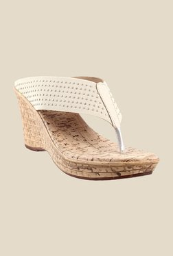 Metro Beige & Golden Wedge Heeled Thong Sandals