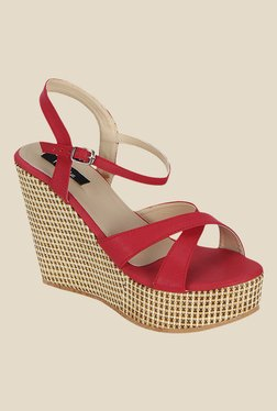 Kielz Red Ankle Strap Wedges