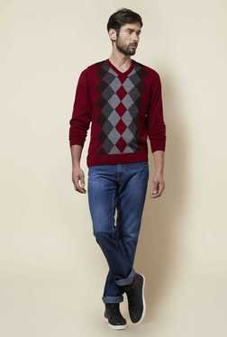 Zudio Maroon Argyle Print Sweater