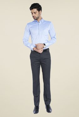 Raymond Navy Solid Trousers - Mp000000000489496