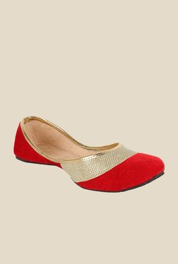 Sassily Red & Golden Jutti Shoes