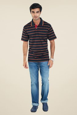 ColorPlus Navy Stripes Shirt Collar T Shirt