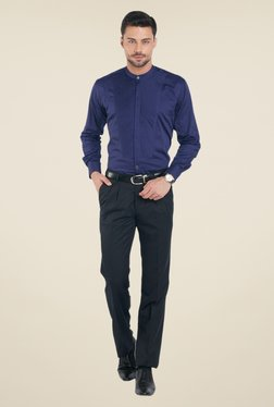 Raymond Navy Solid Trousers - Mp000000000490261
