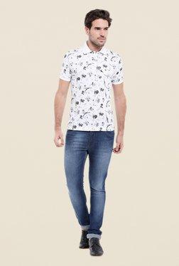 Parx White & Grey Print Regular Fit T Shirt