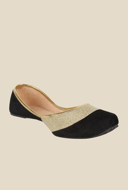 Sassily Black & Golden Jutti Shoes