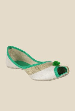 Sassily White & Green Jutti Shoes