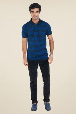 ColorPlus Blue Stripes Slim Fit T Shirt
