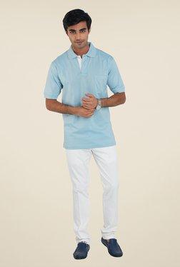 ColorPlus Blue Solid Regular Fit T Shirt