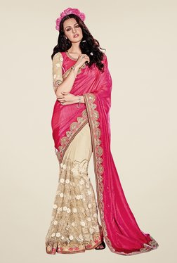Triveni Beige & Pink Embroidered Art Silk Lycra Saree