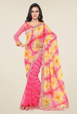 Triveni Pink Printed Faux Georgette Chiffon Saree