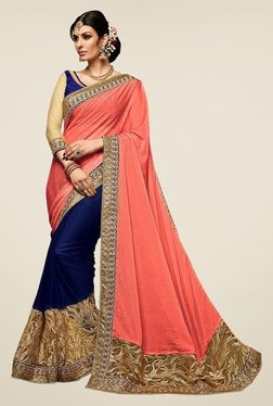 Triveni Blue & Peach Embroidered Chiffon Net Saree
