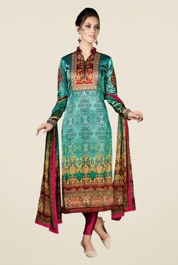 Triveni Beautiful Green & Pink Satin Crepe Dress Material