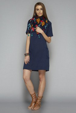Bombay Paisley by Westside Navy Solid Dress