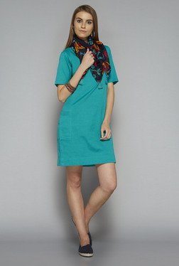Bombay Paisley by Westside Turquoise Solid Dress
