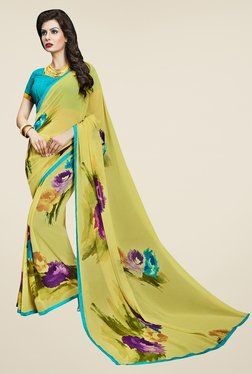 Triveni Chic Yellow Faux Georgette Saree