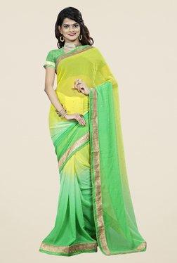 Triveni Smart Green & Yellow Chiffon Saree