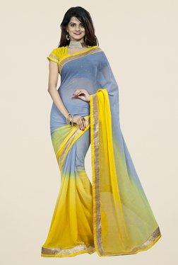 Triveni Trendy Yellow & Grey Chiffon Saree