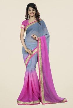 Triveni Chic Grey & Pink Chiffon Saree