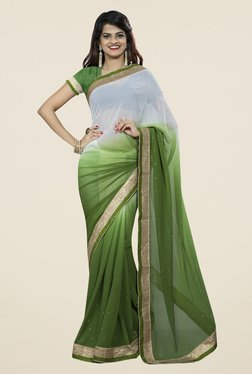 Triveni Stylish Green & Grey Chiffon Saree