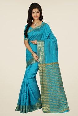 Triveni Chic Blue Tussar Silk Saree