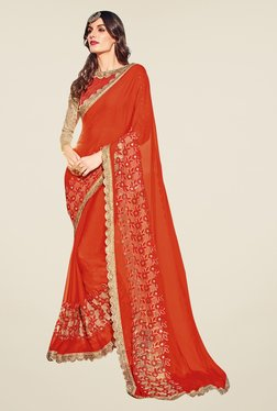 Triveni Divine Red Embroidered Faux Georgette Saree