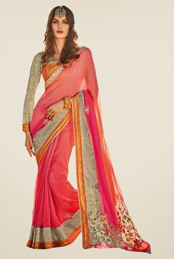Triveni Sophisticated Pink Solid Satin Net Saree