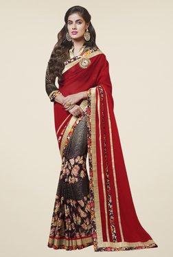 Triveni Beautiful Brown & Red Georgette Net Saree