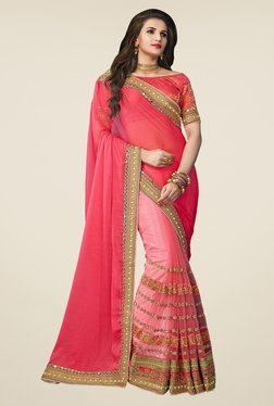Triveni Beautiful Peach Chiffon Net Saree