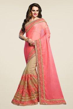 Triveni Trendy Beige & Peach Chiffon Net Saree