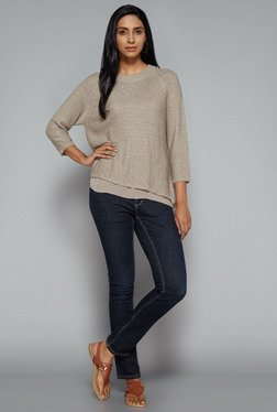 LOV by Westside Taupe Sherry Knit Top