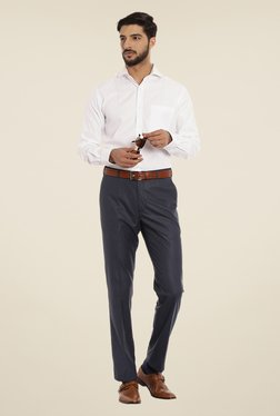 Raymond Blue Textured Trouser