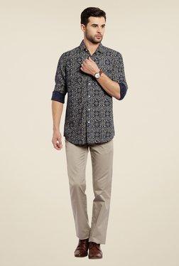 ColorPlus Navy Floral Print Linen Shirt