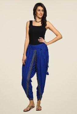 9rasa Blue Solid Dhoti Pants