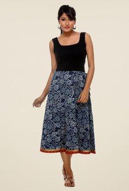 9rasa Navy Floral Skirt