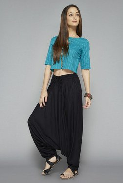Bombay Paisley by Westside Turquoise Striped Crop Top