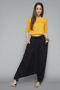 Bombay Paisley by Westside Mustard Striped Crop Top