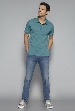 Nuon by Westside Green Slim Fit Polo T Shirt