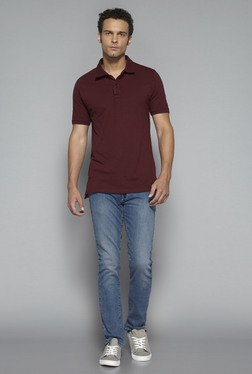 Nuon by Westside Maroon Slim Fit Polo T Shirt