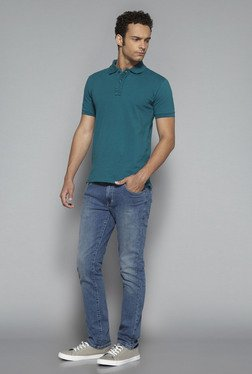 Nuon by Westside Teal Slim Fit Polo T Shirt