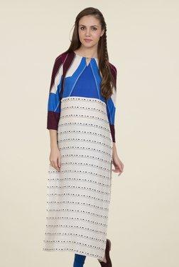 Desi Belle Off White & Blue Printed Kurti
