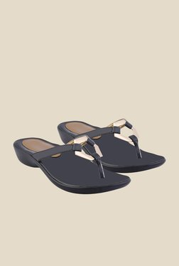 Shoe Bazar Black Wedge Heeled Thong Sandals