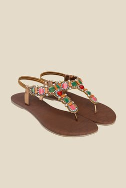 Shoe Bazar Golden Sling Back Sandals