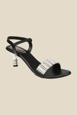 Shoe Bazar Black & Silver Sling Back Sandals