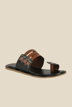Shoe Bazar Black & Tan Toe Ring Sandals