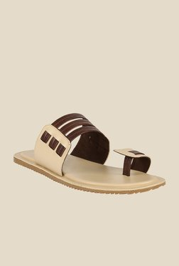 Shoe Bazar Beige & Brown Toe Ring Sandals