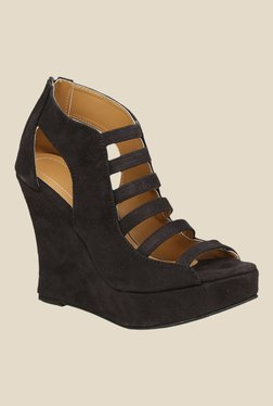 Shoe Bazar Black Wedge Heeled Sandals