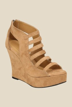 Shoe Bazar Beige Wedge Heeled Sandals