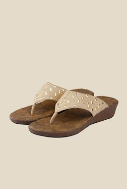 Shoe Bazar Beige Wedge Heeled Thong Sandals