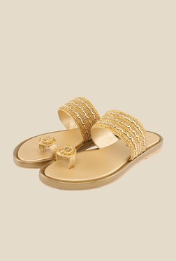 Shoe Bazar Golden Toe Ring Sandals