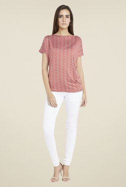 Globus Red Floral Print Short Sleeves Top